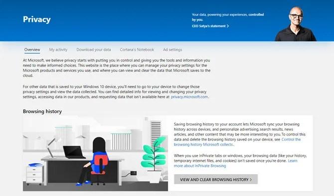 Настройки конфиденциальности Microsoft