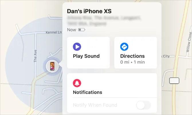 Кнопка «Воспроизвести звук» в приложении «Найти мое» на Mac