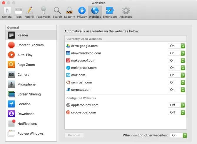 Safari Use Reader Просмотреть все сайты