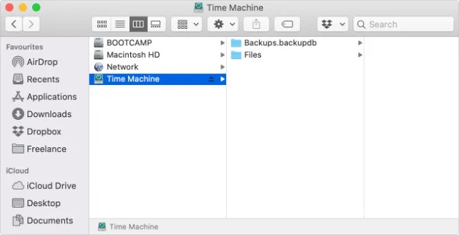 Диск Time Machine с отдельной папкой Files