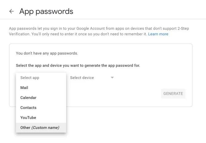 Пароли приложения настроек безопасности Google