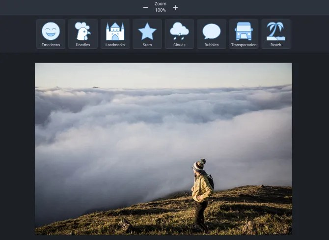 Pixi Worker image editor adds stickers, texts, speech bubbles, and other shapes to photos