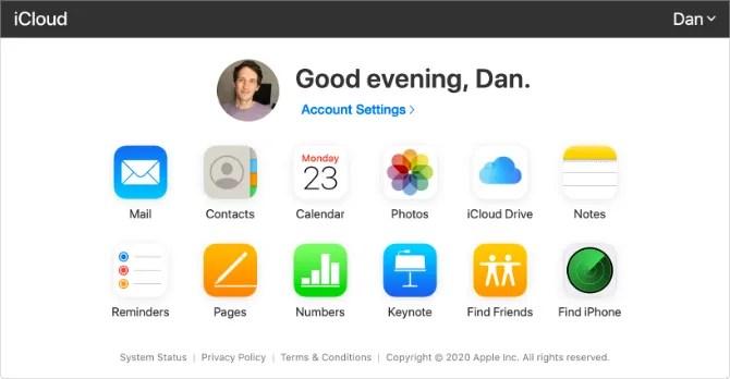 Домашняя страница iCloud с кнопками приложения