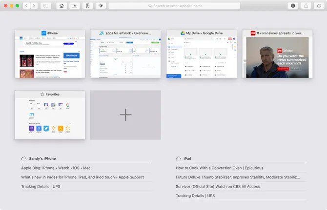 Вкладки iCloud в обзоре вкладок Safari