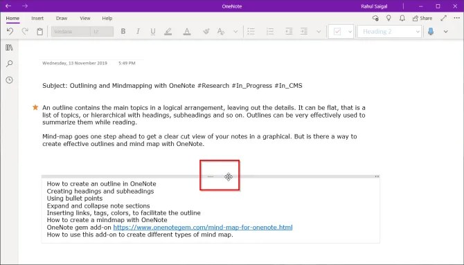 объединить контейнеры в OneNote Windows 10