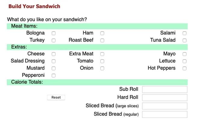 calculadora de calorías sandwich