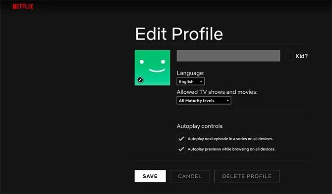 Создать новый профиль Netflix