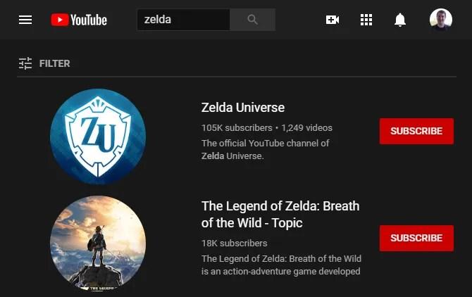 Поиск канала YouTube