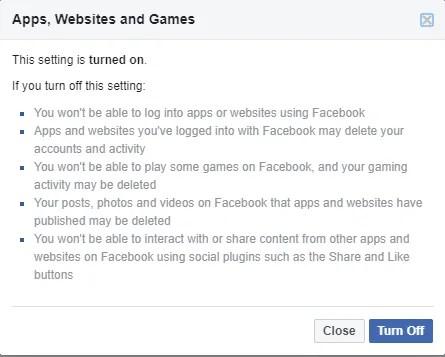 Facebook отключить доступ к веб-сайту приложения