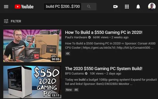 Поиск цен на YouTube
