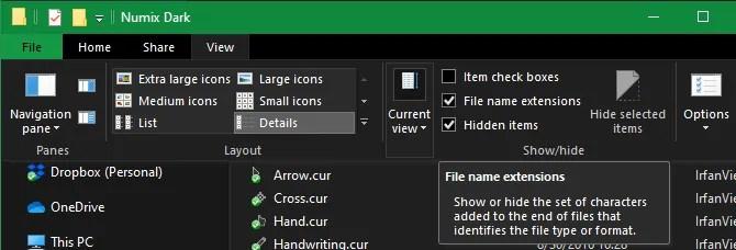 Opción de extensiones de nombre de archivo de Windows