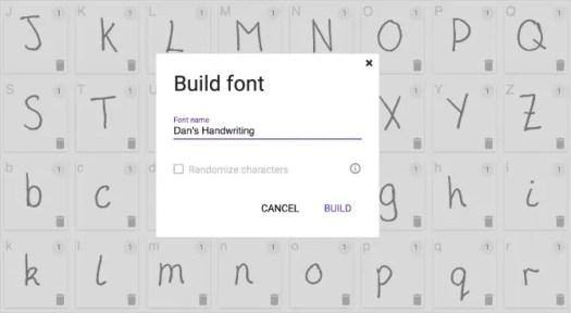 Build Font window to create custom handwriting font