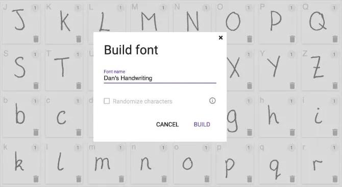 Окно Build Font для создания собственного шрифта рукописного ввода