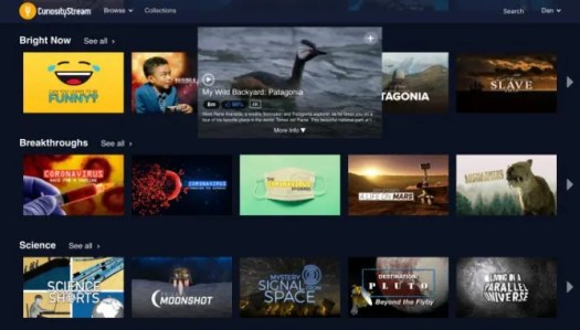 CuriosityStream home screen showing selection of shows to watch