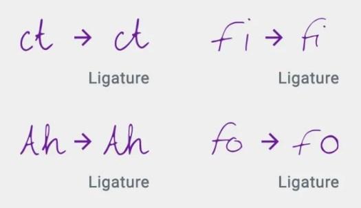 Ligrature demonstration from Calligraphr website