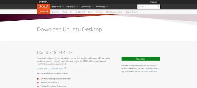 صفحة تحميل Ubuntu Desktop