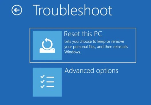 Windows Reset PC Advanced Options