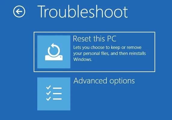 Windows Reset PC Дополнительные параметры