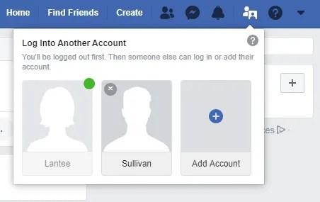 классический переключатель аккаунта в фейсбуке