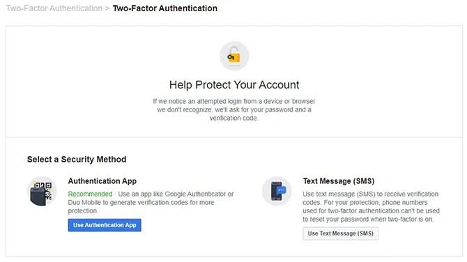 Facebook двухфакторные варианты аутентификации