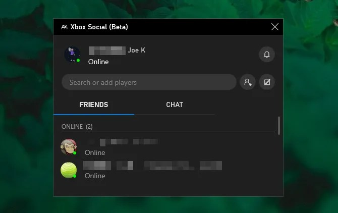 Игровой бар Xbox Social