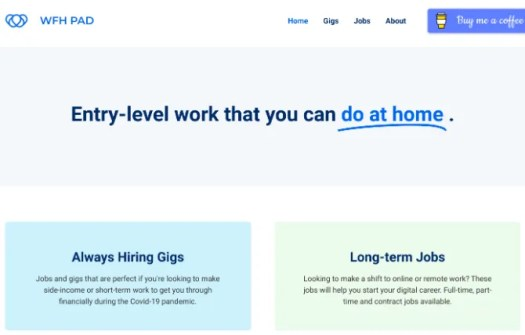 WFH Pad lists short-term gigs and long-term jobs for entry-level remote workers