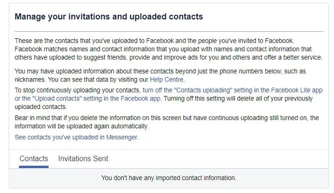 إدارة اتصالات الفيسبوك