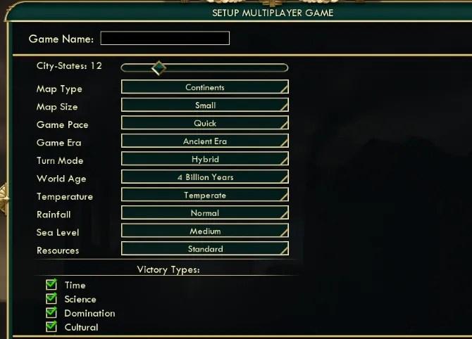 Настройте параметры многопользовательской игры в Civilization 5
