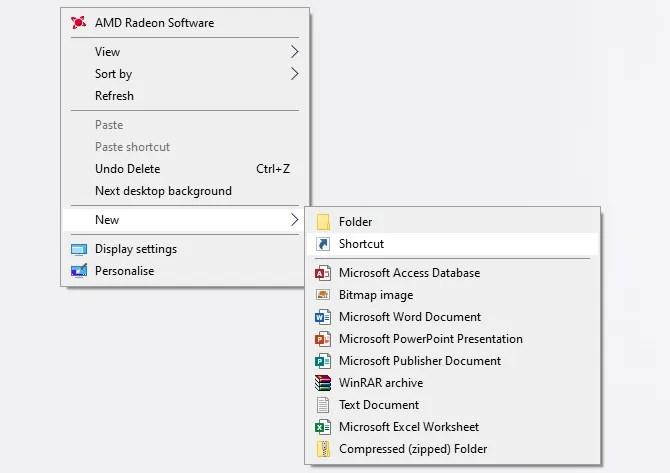 Windows 10 новый ярлык на рабочем столе