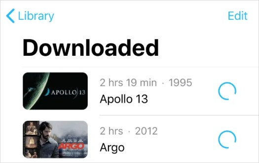 Downloaded purchased movies from iTunes
