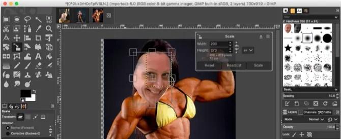 GIMP инструмент для масштабирования