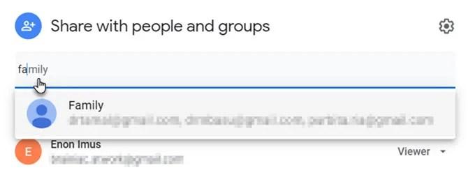 Ввод ярлыков контактов Google в настройках общего доступа к Google Диску