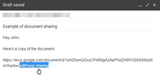 Copied Google Drive URL in email