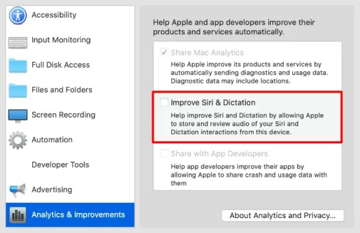 Improve Siri & Dictation option in Privacy System Preferences