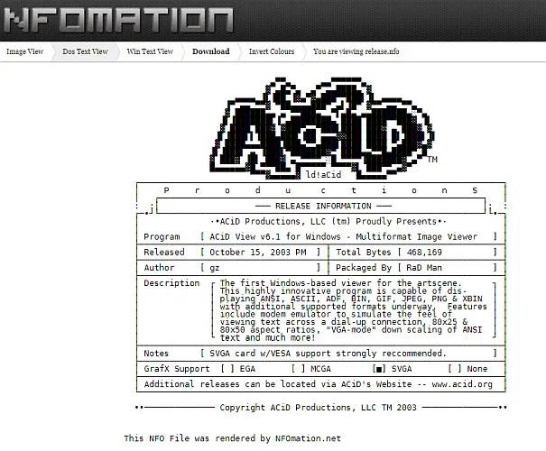 NFOmation онлайн просмотрщик файлов NFO