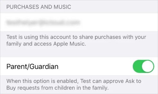 Parent:Guardian toggle in Family Sharing settings