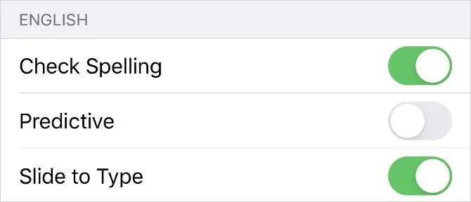 Предиктивный вариант в настройках клавиатуры на iPhone