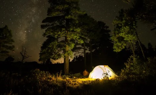 camping at night with light