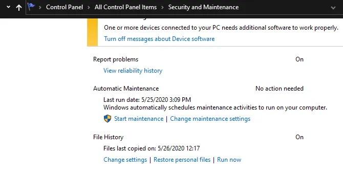 Windows Change Maintenance Settings