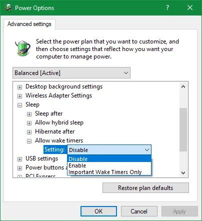 Windows Disable Wake Timers Power