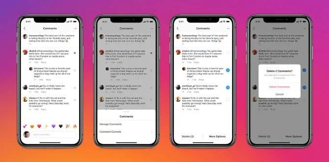массовое удаление комментариев из Instagram