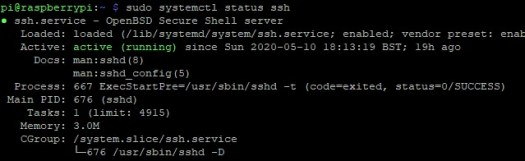 Check the status to confirm SSH is set up correctly