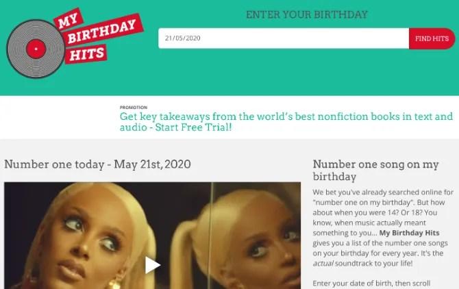 My Birthday Hits создает плейлист песен с топ-чартами на ваш день рождения каждый год