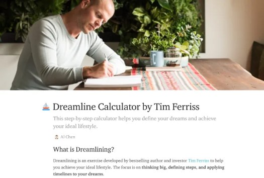 Practice the Tim Ferris methods of Dreamline Calculator and Fear Setting as online apps