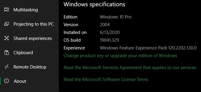 Информация о версии Windows 10