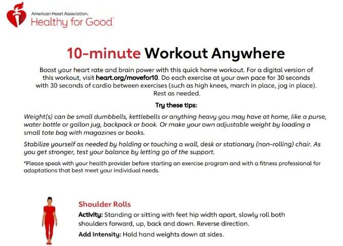 Американская ассоциация сердец предлагает бесплатную 10-минутную кардио-тренировку для сердца
