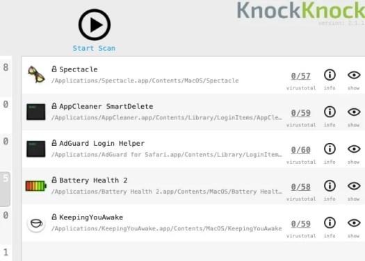 Scan results for login items in KnockKnock Mac app