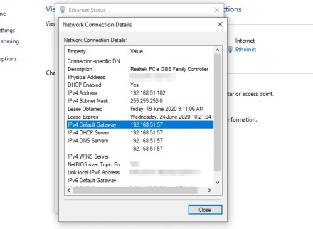 network connection details router ip address windows