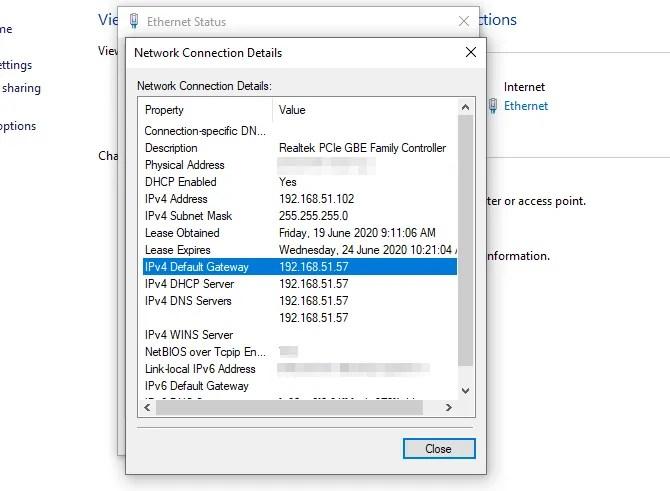 сведения о сетевом подключении маршрутизатор IP-адрес окна