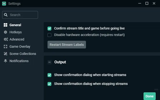 Общие настройки Streamlabs